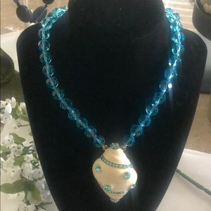 New Heidi Daus Crystal Blue Shell Necklace